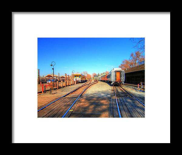 Old Town Sacramento Framed Print featuring the photograph Tracks Along the River-HDR by Barry Jones