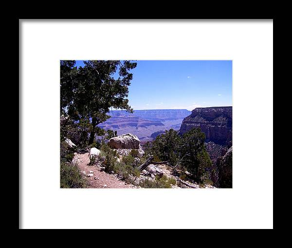 Grand Canyon Framed Print featuring the photograph Trail to the Canyon by Dany Lison