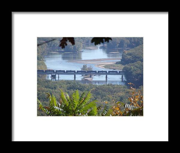 Train Framed Print featuring the photograph Train On The Mississippi by Bonfire Photography
