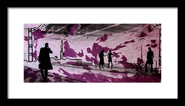 Serigraph Framed Print featuring the digital art Train station - Siebdruck Reise Bahn Kunst by Arte Venezia