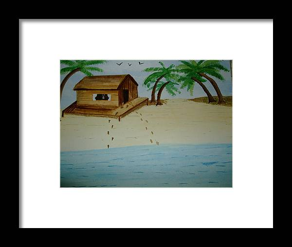 Beach Hut And Palms Framed Print featuring the painting Tranquil Beach by Mark Dermody