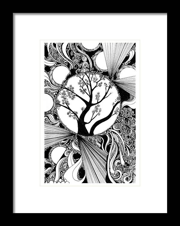Tree Framed Print featuring the drawing Tree Doodle 58 by Danielle Scott