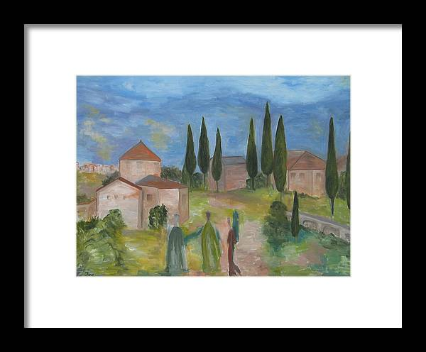 Landscape Framed Print featuring the painting Tres Visitas En Segovia by Trish Toro