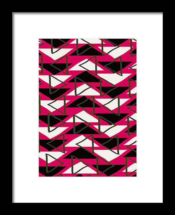Louisa Framed Print featuring the digital art Triangles by Louisa Knight