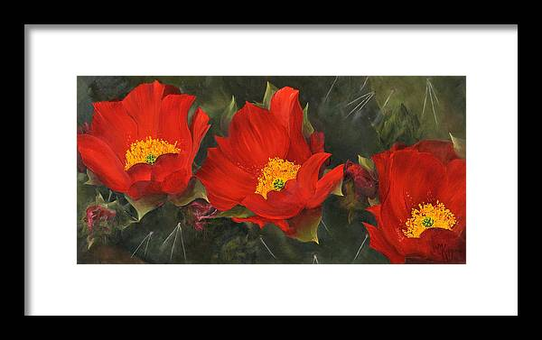 Flower Framed Print featuring the painting Triplets by Judith Koppes