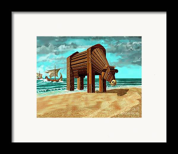 Beach Framed Print featuring the digital art Trojan Cow by Russell Kightley