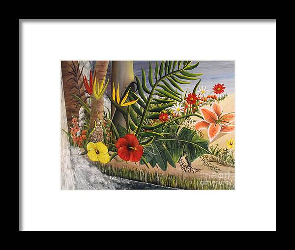 Tropical Flowers Framed Print featuring the painting Tropical Beauty by Sandy Hurst