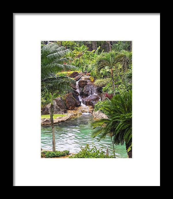 Hawaii Framed Print featuring the photograph Tropical Garden Waterfall by Linda Phelps