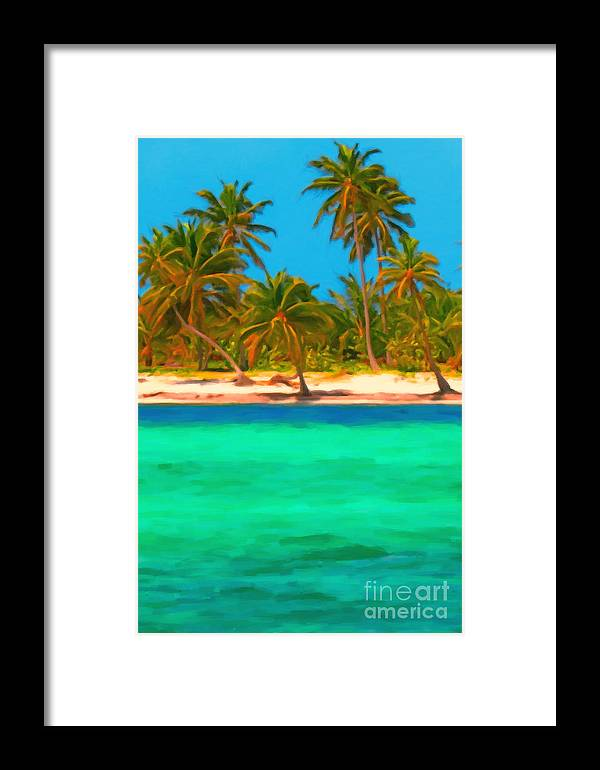 Tropical Island Framed Print featuring the photograph Tropical Island 5 - Painterly by Wingsdomain Art and Photography