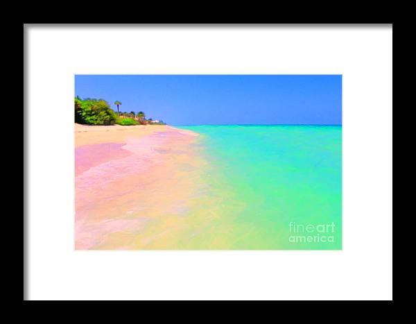 Tropical Island Framed Print featuring the photograph Tropical Island 7 - Painterly by Wingsdomain Art and Photography