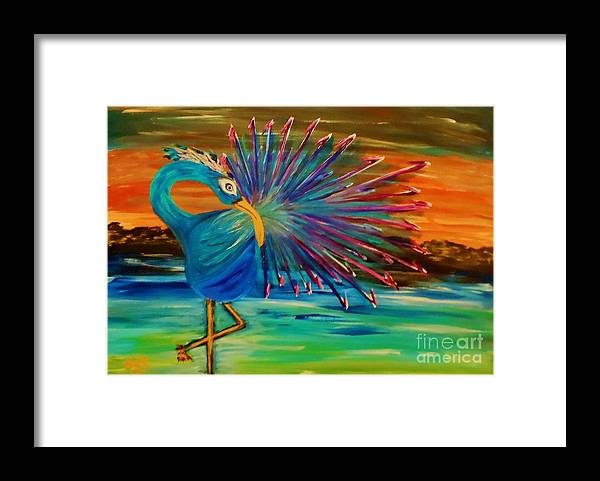 Framed Print featuring the painting Tropical Peacock by Marie Bulger