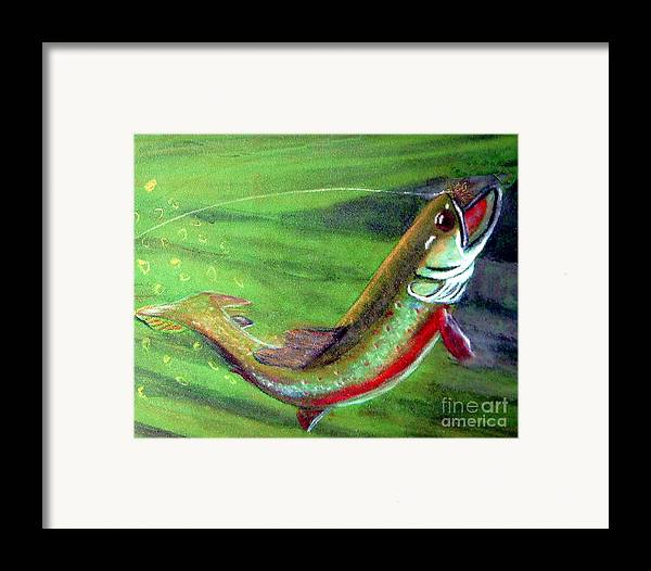 Trout Framed Print featuring the photograph Trout On - Pastel Painting by Merton Allen