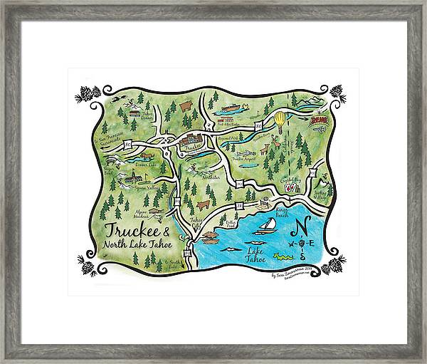 photograph relating to Printable Map of Lake Tahoe called Truckee And North Lake Tahoe Map Framed Print