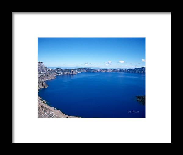 Crater Lake Framed Print featuring the photograph True Blue by Dave Johnson
