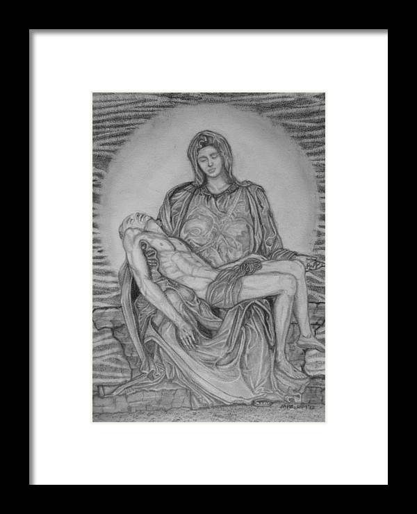 Pieta Framed Print featuring the drawing True Love by Cheppy Japz