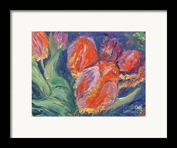 Floral Framed Print featuring the painting Tulips by Barbara Anna Knauf