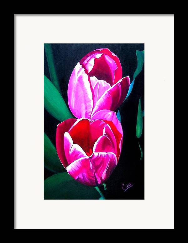 Tulips Framed Print featuring the painting Tulips by Karen Casciani