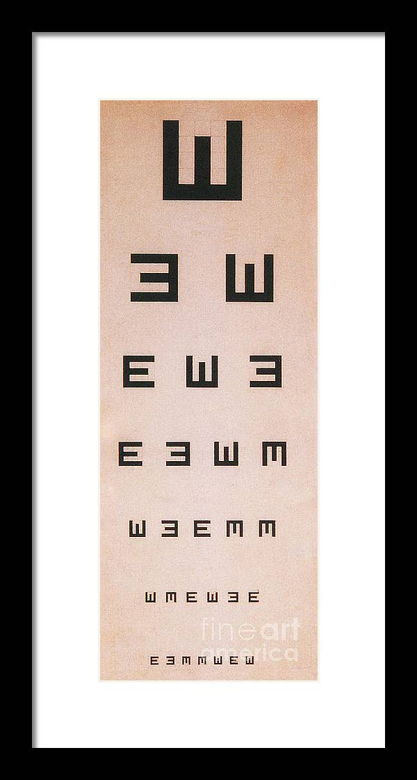 Tumbling E Eye Chart Framed Print By Science Source