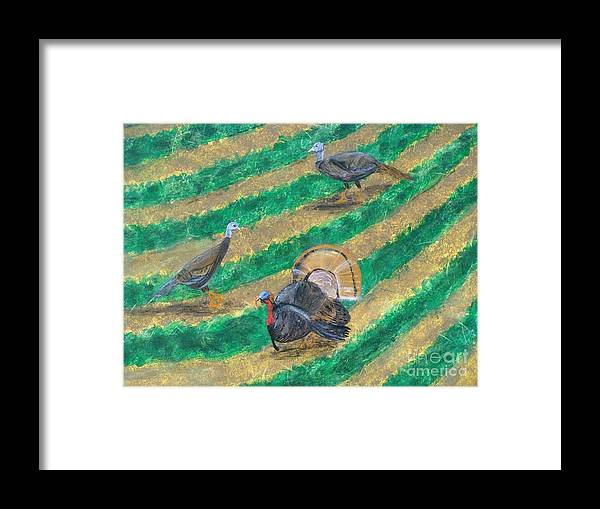 Farm Framed Print featuring the painting Turkeys In Field by Erin Mikels