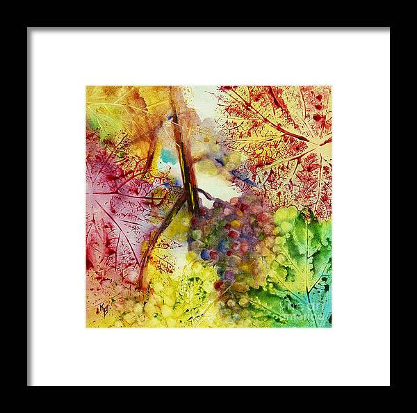 Grapes Framed Print featuring the painting Turning Leaves by Karen Fleschler