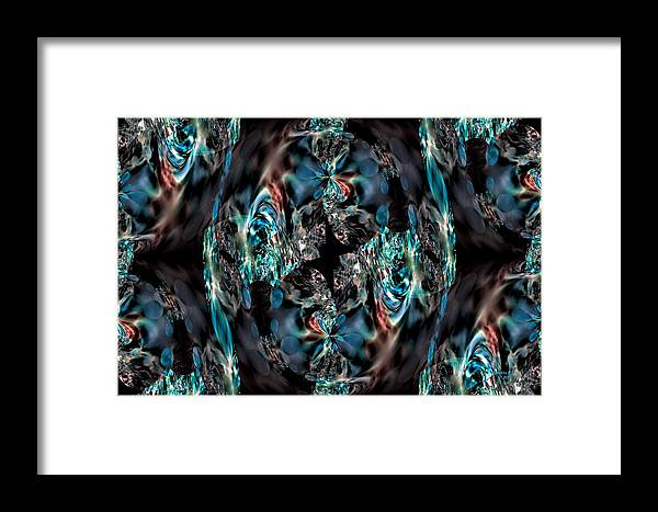 Turquoise Framed Print featuring the digital art Turquoise Crystals by Maria Urso