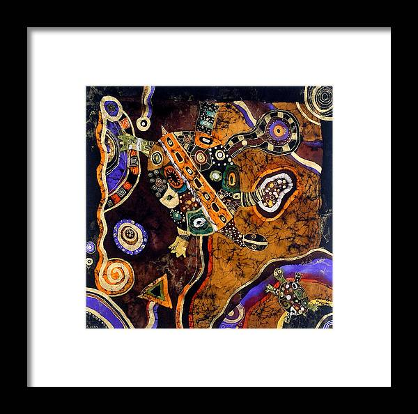 Tapestry Framed Print featuring the tapestry - textile Turtles by Sandra Kern