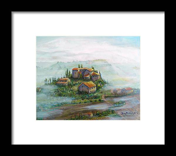 Landscape Framed Print featuring the painting Tuscany Sun-Break by Dan Bozich