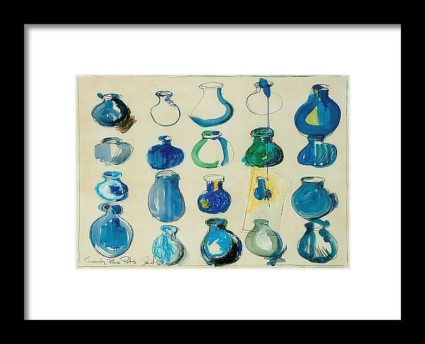 Still Life Framed Print featuring the painting Twenty Blue Pots by David Martin