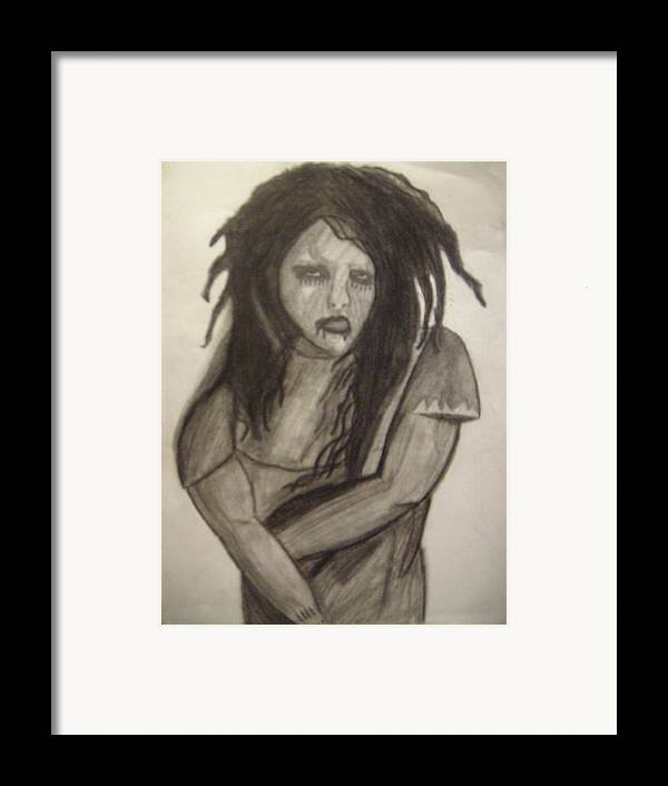 Twiggy Framed Print featuring the drawing Twiggy by Brittney Wallace
