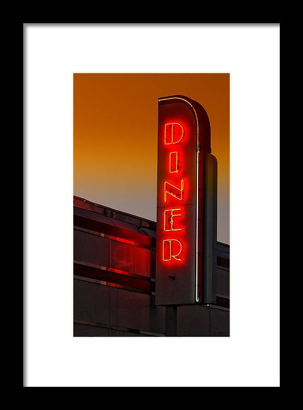 Diner Framed Print featuring the photograph Twilight Diner by Brian Mollenkopf