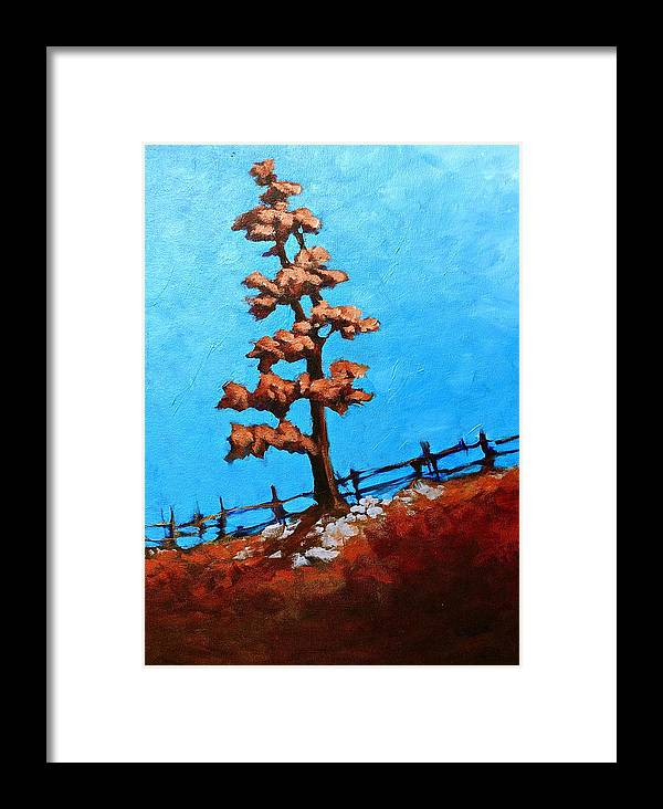Tree Painting Framed Print featuring the painting Twilight Pine by Lisa Masters