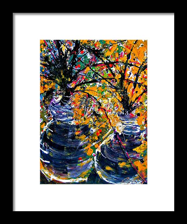 Flowers Framed Print featuring the painting Twin Flowers by Pearlie Taylor