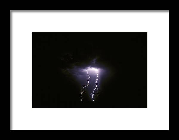 Etosha National Park Namibia Framed Print featuring the photograph Twin Lightening Forks Slam Into A Salt by Jason Edwards