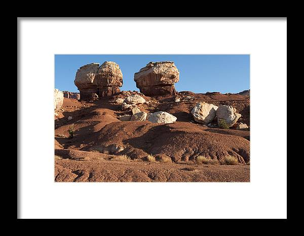 Capitol Reef Framed Print featuring the photograph Twin Rocks Capitol Reef Np by Sandra Bronstein