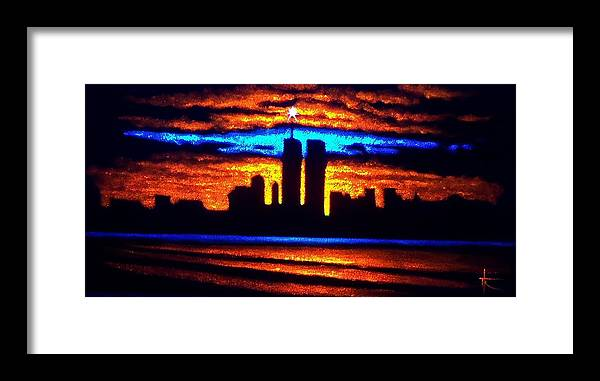 Twin Towers Framed Print featuring the painting Twin Towers In Black Light by Thomas Kolendra