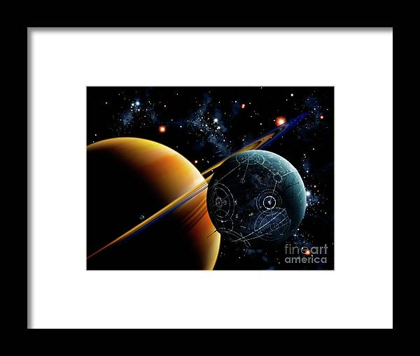 Artwork Framed Print featuring the digital art Two Artificial Moons Travelling by Brian Christensen