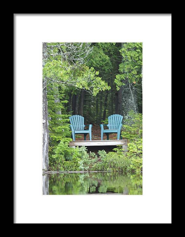 Nobody Framed Print featuring the photograph Two Chairs Sit At A Lakeside Camp by Heather Perry