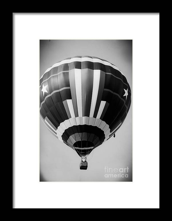 Black And White Hot Air Balloon Framed Print featuring the mixed media Two Star Balloon by Kim Henderson