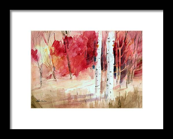Autumn Landscape Framed Print featuring the painting Two Sticks. by Josh Chilton