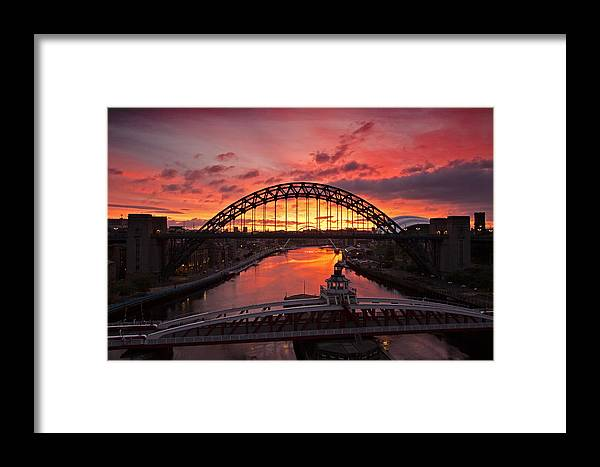 River Tyne Framed Print featuring the photograph Tyne Bridges At Sunrise IIi by David Pringle