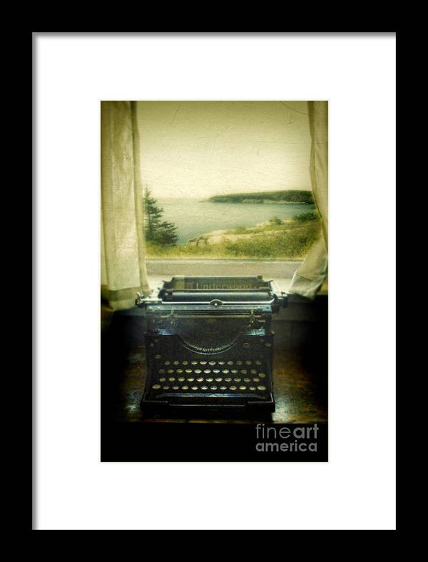 Type Framed Print featuring the photograph Typewriter By Window by Jill Battaglia