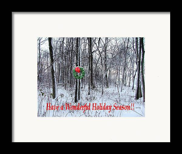 Framed Print featuring the photograph Tyra's Woods At Christmas by Julie Dant