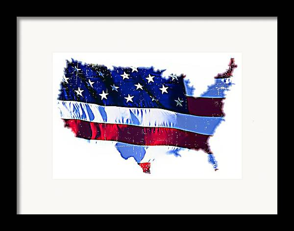Flag Framed Print featuring the mixed media U. S. A. by ABA Studio Designs