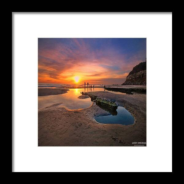 Framed Print featuring the photograph Ultra Low Tide Sunset At A North San by Larry Marshall