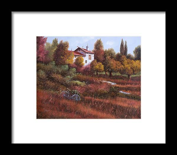 Bike.wood Framed Print featuring the painting Una Bicicletta Nel Bosco by Guido Borelli
