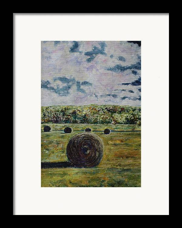 Turbulent Skies Framed Print featuring the painting Uncertain Skies by Patsy Sharpe