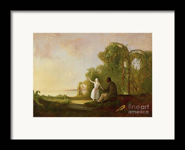 Uncle Framed Print featuring the painting Uncle Tom And Little Eva by Robert Scott Duncanson