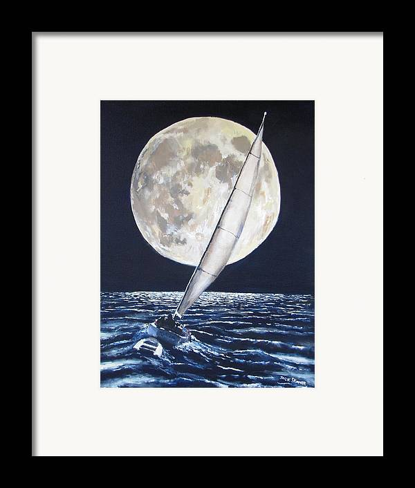 Sailboat Ocean Framed Print featuring the painting Under Full Sail..under Full Moon by Jack Skinner