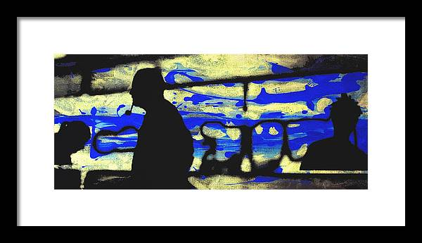 Silhouette Framed Print featuring the digital art Underground - People silhouette serigraphic arts by Arte Venezia