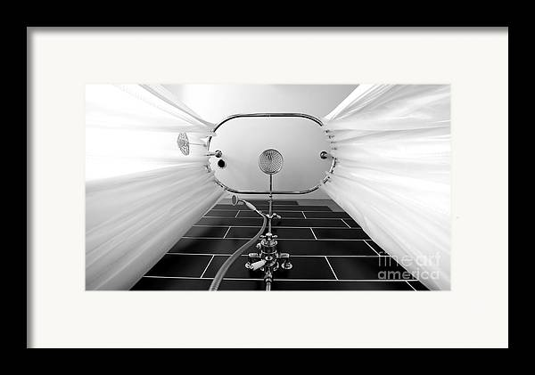 Shower Framed Print featuring the photograph Underneath An Old Style Shower by Simon Bratt Photography LRPS